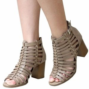 New Taupe Gladiator Strappy Chunky Heel Sandals